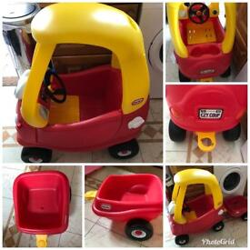 Little tikes cozy coupe car with trailer