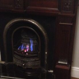 Solid steel black ornate fire insert with open gas flamed coals