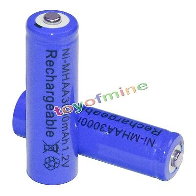2x AA battery batteries Bulk Nickel Hydride Rechargeable NI-MH 3000mAh 1.2V Blue