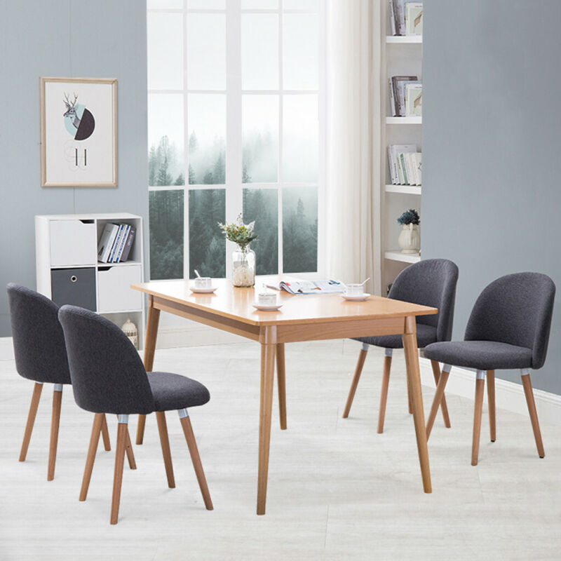 Dining Chairs Set of 4 Modern Velvet Kitchen Chairs Wood  Me