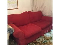 Red fabric sofa HG3