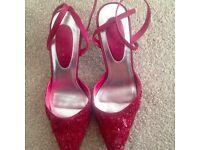 Red sequined kitten heels