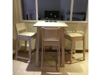 wooden IKEA Norraker breakfast bar table with three bar stools/ chairs, great condition