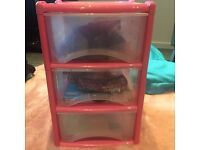 NEW PINK!! DEEP PLASTIC DRAWERS 3 HIGH MADE IN UK