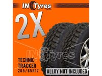2x 265/65r17 Technic Tracker Mud Terrain MT 265 65 17 Retread Kingpin x2 Tyres