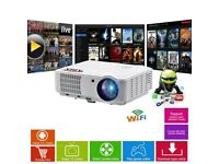 HD6000 Plus Home & Gaming LED Smart Android Projector - White