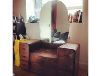 Beautiful vintage oak bedroom set- Wardrobe and Dresser, Whitechapel