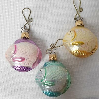 TROPICAL FISH Christmas Ornaments, Set of 3, Germany, In Box, GC  #16 ()