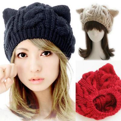 AU Women Girl Devil Horns Cat Ear Beanie Crochet Braided Knit Ski Wool Cap Hats ()