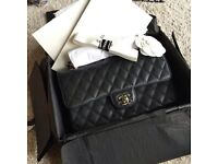 Chanel 2.55 Double Flap Classic Handbag! Black Caviar with Silver Hardware