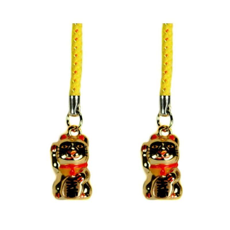 SET OF 2 LUCKY GOLD CAT BELL CHARM Beckoning Kitty Maneki Neko Brass Phone Strap