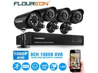 NEW BOXED FLOUREON 8CH 1080N HDMI CCTV DVR+4xOutdoor 1500TVL IR LED Camera Security Kit UK