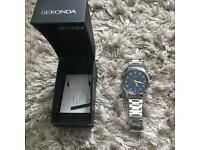 Mens silver sekonda watch (blue face)
