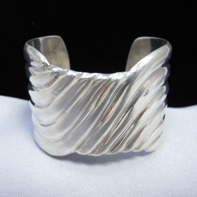 Vintage Sterling Silver 925 Mexico Signed Wide Cuff Bracelet 64.1g #J377