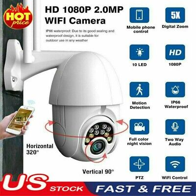 IP66 HD 1080P WI-FI IP Camera Wireless PTZ Outdoor CCTV Home Security IR Webcam