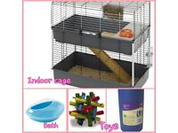 2 beautiful INDOOR long haired females guinea pigs, 2 tier cage and other bits to get you started!