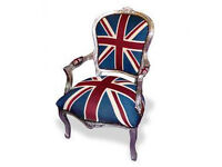 Union jack silver frame french armchair
