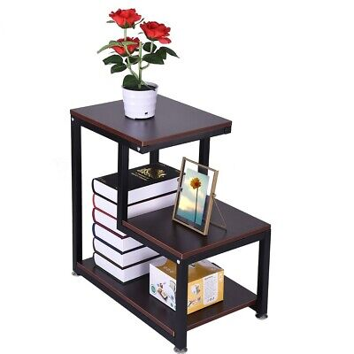 3Tier End Side Table with Storage Durable Furniture Shelf Decor Home