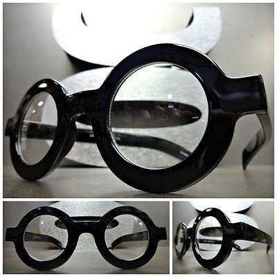 VINTAGE RETRO WALDO Style Clear Lens EYE GLASSES Round Thick Black Fashion Frame