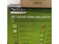 Nearly New -Technika 50F22B Full HD Slim 50 Inch LED TV with Freeview HD. Collect only.