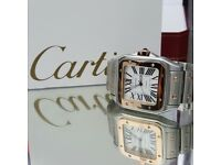 New boxed with papers two tone rose gold bracelet white dial butterfly clasp cartier santos