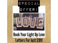 💛 Wedding love letter lights norfolk sign for hire to rent giant venue light up decoration 💛
