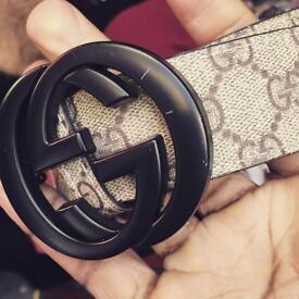 Brown Unisex Interlocking Gucci Belt/ Black Buckle