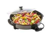 VonShef 1500W Round Multi Cooker, With Glass Lid, Non-Stick Surface, and Cool Touch Handles