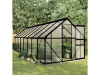 Greenhouse with Base Frame Anthracite Aluminium 9.31 m²-48220