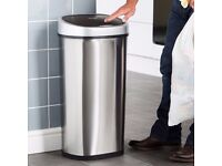 VonHaus Waste Bin for Kitchen with Automatic Motion Sensor Lid - 50 Litre Capacity - Stainless Steel