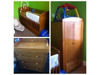 Nursery furniture set cot bed drawers and wardrobe