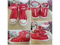 Red converse womens