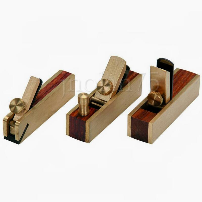 3 piece Micro Mini Brass Hand Plane Set Wood Finish Planer Hardwood Hobby Craft