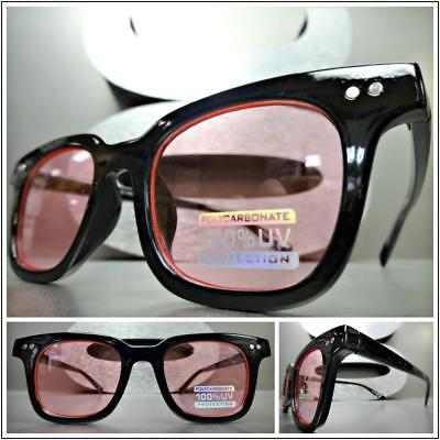 Mens or Women Classic Vintage 50's Retro Style Sun Glasses Black Frame Pink Lens](50s Style Glasses)