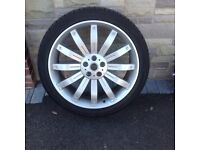 """22"""" Alloys & Tyres, """"Overfinch Tiger"""" Design. Set of 4 off my Range Rover vogue L322. 1 wheel welded"""