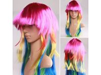 Cosplay Party Wig Mix Color Women Ladies Vogue Curly Wavy Hair Full Cosplay Wig