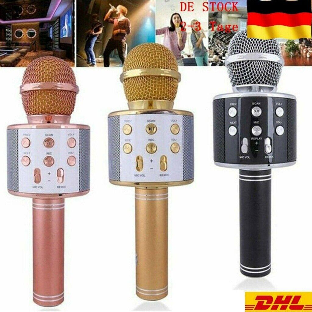 Bluetooth Karaoke Mikrofon Tragbares Handmikrofon für Kinder und Erwachsene NEU