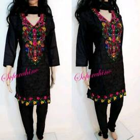 Indian Pakistani Shalwar Kameez Embroidered 3piece stitched suits