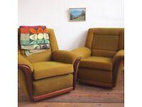 Fab Pair Of Retro Armchairs In Original Vintage Green Fabric
