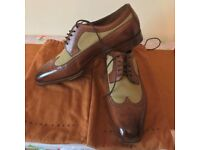 Edward Green Mens Leather Twill Shoes Size 10.5 Mint Condition with Shoe Bags, Cloth, Boxed