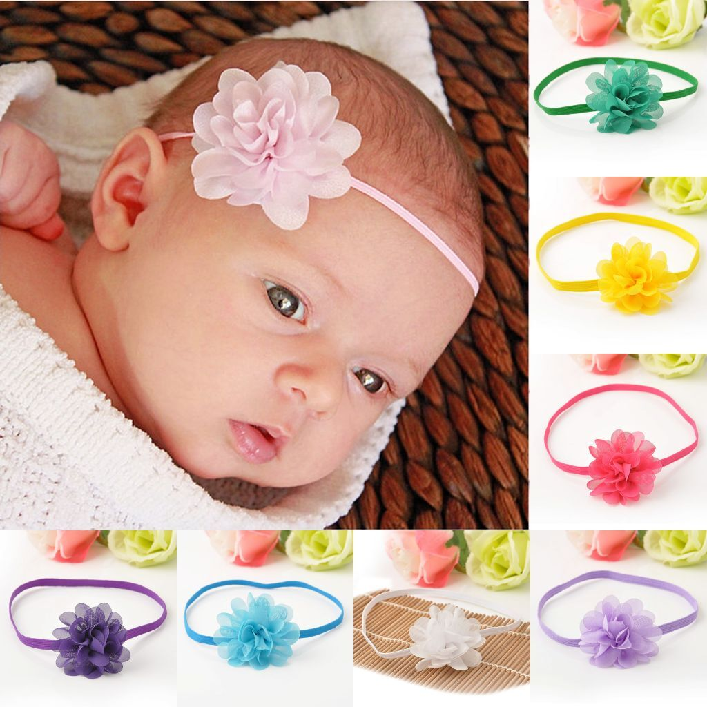 10PCS Bulk Chiffon Flower Kids Baby Girl Headband Hair Band Bow Accessories Gift