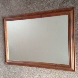 LARGE DARK PINE FRAMED MIRROR. PERFECT CONDITION
