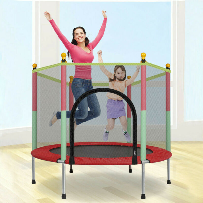 Kids Mini Jumping Round Trampoline Exercise W/ Safety Pad En