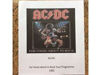 AC/DC For those about to Rock 1982 Tour Programme