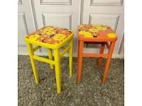 Retro Kitchen Stools 1970's Flower Power