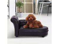 Paw-Hut Dog Bed Pets Sofa Luxury Pets Couch Wooden Sponge PVC (Black)