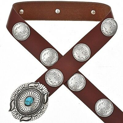 Navajo Morgan Dollar Replica Concho Belt w Turquoise Old Pawn Style Buckle - Old Style Turquoise Buckle