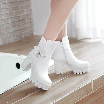 kurz Stiefel Damen Schuhe Plattform Hoher Absatz Schleife Strass Stiefeletten  ()