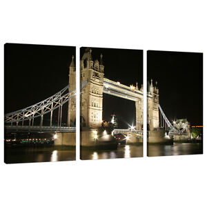 Triptych Triple 3 Canvas Wall Art Pictures London Cities Prints 3023