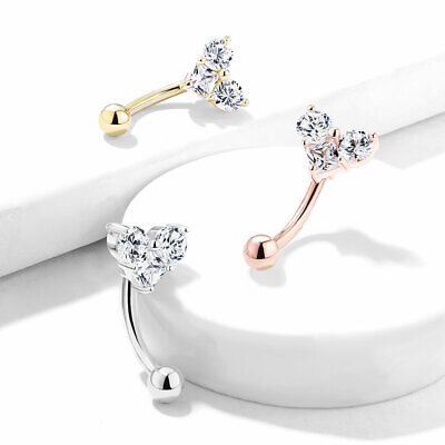 Round & Square CZ Heart Curved Barbell Eyebrow Ring Rook Daith Snug Piercing 16G (Round Curved Barbell)